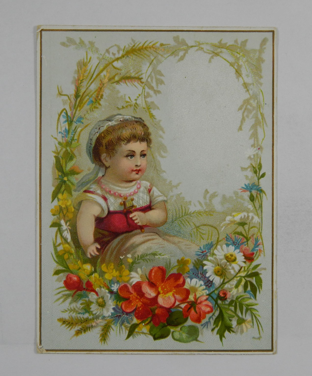 Girl Sitting a Field of Flowers Vintage Trade Card 217013 ...