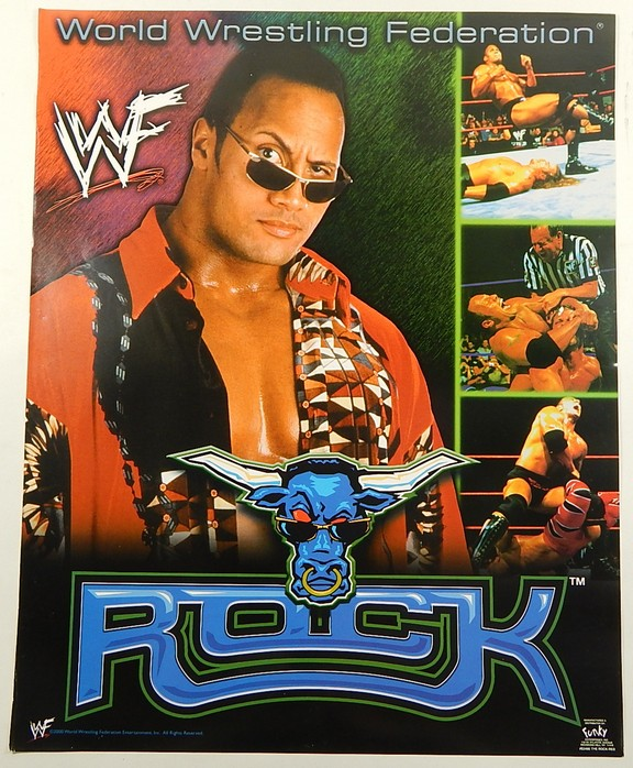 Details About 2000 Wwf The Rock 16x20 Poster By Funky Dwayne Johnson Wrestling Bull Logo